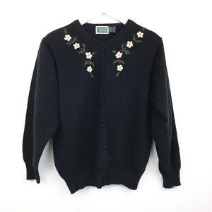 Vintage | Embroidered Cardigan Angora Lambswool M